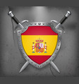 flag of spain the shield with national flag two vector image vector image