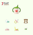 flat baby set of toilet napkin nipple and other vector image vector image