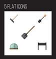 flat icon dacha set of shovel hothouse harrow vector image vector image