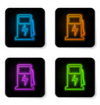 glowing neon electric car charging station icon vector image vector image