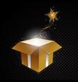 golden 3d gift box with glittering spiral vector image