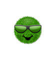 green grass field 3d face smile with sunglasses vector image vector image
