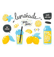 hand drawn lemonade lemon juice bubble drink with vector image
