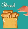 hand grabbing delicious breads vector image vector image