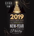 happy hew 2019 year gold shining christmas tree vector image vector image