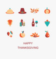 happy thanksgiving color set for greeting vector image vector image