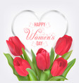 happy women day card with tulips vector image
