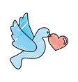 heart with cute dove flying icon vector image