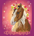 horse portrait with flowers16 vector image vector image