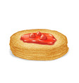 hot pancake with buttered strawberry jam sweet vector image
