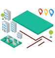isometric elements for map buildings trees gps vector image
