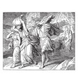 lot and his family fleeing from sodom vintage vector image vector image
