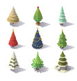 low poly christmas trees vector image vector image