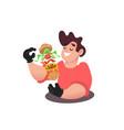 man eating tasty burger vector image