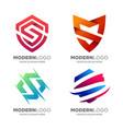 modern shield letter s logo design vector image vector image