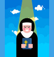 nun and blessing religious woman vector image