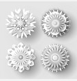 origami flowers white paper cut out objects set vector image vector image