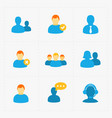 people flat icons set on white vector image vector image