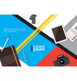 photographer workplace top angle view camera vector image vector image