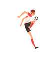 professional soccer player kicking ball football vector image vector image