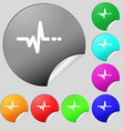 pulse icon sign Set of eight multi colored round vector image vector image