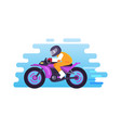 racer riding motorbike logo isolated blue vector image