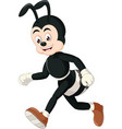 running black white ant wearing brown shoes vector image vector image