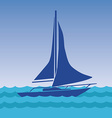 Sailing boat with deflated sails in the sea vector image
