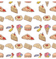 seamless pattern different drawn fast food vector image