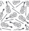 Seamless Pattern with Wooden Fiddle or Violin vector image vector image