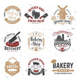 set butcher shop and bakery shop badge label vector image vector image