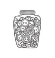 set of cloth buttons in glass jar in boho style vector image