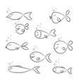 set of fish sketch on white background vector image