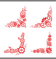 set of four traditional folk ornaments vector image vector image