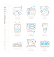 set of household icons and concepts in mono thin vector image vector image