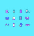 set simple line icons modern gadgets vector image