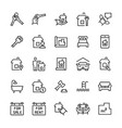 simple icon set real estate items in thin line vector image