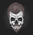 skull barber hair mustache element vector image