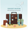 travel concept suitcase beach accessories vector image vector image