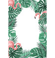 tropical jungle leaves flamingos frame portrait vector image vector image
