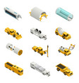 tunnel construction isometric icons vector image vector image
