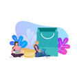 woman with laptop and shopping bags online vector image