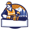 worker man with the chainsaw vector image