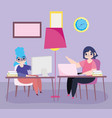 working remotely young women with laptops in desk vector image vector image