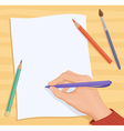 Writing hand vector image
