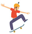 young guy jumping on his skate board wearing vector image