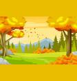 autumn landscape forest view cartoon