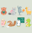 back to school animal character hand drawn style vector image vector image