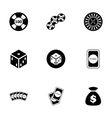 black casino icon set vector image vector image