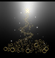 black christmas tree square background with vector image vector image